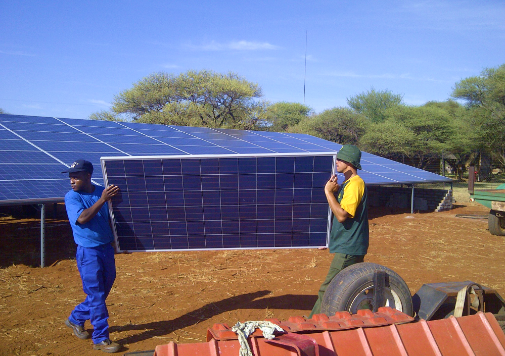 Installing an off-grid solar system in South Africa.